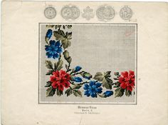 Antique Berlin woolwork pattern. Mini Cross Stitch, Cross Stitch Charts, Vintage Cross Stitches, Hobbies And Crafts, Diy Flowers, Needlepoint, Hand Embroidery, Needlework, Tapestry