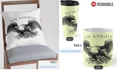 Los Angeles Throw Pillow, Mug and Travel Mug #artbyurte