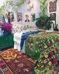 Colourful Bohemian Bedroom Frida Khalo inspiration