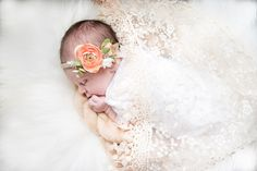 Simply Picturesque Photography | Southern Maryland | Calvert County Maryland Photographer | Lovely Sweet Baby Girl Newborn Photography Session | Amazing baby girl newborn photography session! Sweet baby girl sleeping wrapped in ivory lace swaddle and wearing a beautiful pink and white flower crown. Absolutely beautiful newborn session!