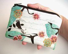 Little Zipper Pouch Padded Coin purse Gadget case Aqua Bird Blush  by JPATPURSES, $9.00