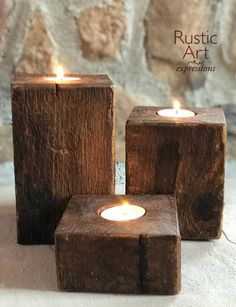Simple and rustic. Small Candle Holders, Rustic Candle Holders, Rustic Candles, Candle Holder Set, Diy Candles, Tea Light Candles, Tea Light Holder, Tea Lights, Farmhouse Table Centerpieces