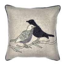 Embroidered Birds Cushion