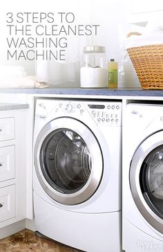 How to Clean Washing Machine Learn how to clean a washing machine so the grimy buildup doesn't sneak its way onto your clean laundry.( I also want this for my next laundry room. Cleaning Recipes, House Cleaning Tips, Green Cleaning, Spring Cleaning, Cleaning Hacks, Casa Clean, Clean House, Clean Your Washing Machine, Washing Machines