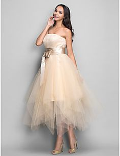 TS Couture® Cocktail Party / Homecoming / Holiday Dress - 1950s Plus Size / Petite A-line Strapless Tea-length Tulle with Draping / Sash / Ribbon – GBP £ 252.00