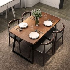北欧小资风家具铁艺餐桌胡桃木餐桌时尚家用饭桌长方形餐桌椅组合