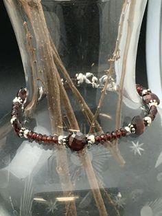 Almandine Garnet Bracelet Beaded Bracelet by AngelWearDesigns2013