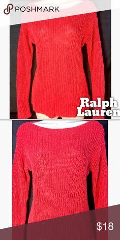Lauren Ralph Lauren Oversized Sweater XS Beautiful red/orange Ralph Lauren sweater. Perfect color for the holidays! Gently used. Runs large. Would Fit a small easily. Lauren Ralph Lauren Sweaters Crew & Scoop Necks