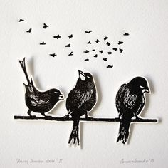 Three Birds and flying birds linocut print.