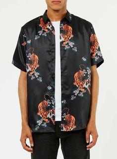 Black Tiger Print Short Sleeve Casual Shirt