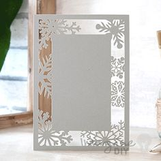 Snowflake Laser Cut Range in Silver  Laser cut wedding invitations perfect for your luxury wedding. DIY laser cuts are easy and elegant with options to insert your own printer inserts.
