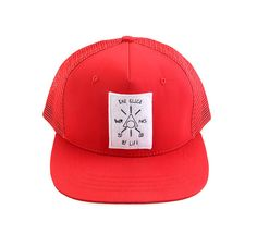 Navaj Hats by Warning Clothing. Red hat that made from cotton with emblem and stitching detail, adjustable snap closure, mesh back, this simple cap by Warning, sure look casual but stylish at the same time.    http://www.zocko.com/z/JGCdV