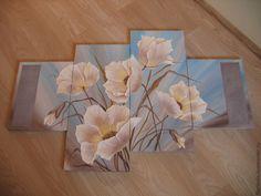 """Купить Объемная фреска """"Белые маки"""" - бирюзовый, объемная картина, картина из частей, сегментированнаякартина"""