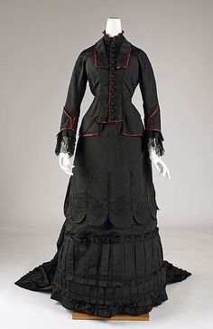 Date: 1879–81 Culture: American Medium: silk Dimensions: (a) Length at CB: 29 1/2 in. (74.9 cm) (b) Length at CB: 72 in. (182.9 cm) (c) Length: 40 in. (101.6 cm) Credit Line: Gift of Mrs. William R. Witherell, 1953 Accession Number: C.I.53.72.2a–c