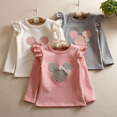 Girls'Long Sleeve children's T-shirt bottoming shirt children spring and summer Kids Outfits Girls, Cute Outfits For Kids, Shirts For Girls, Kids Girls, Girl Outfits, Baby Girls, Toddler Girls, Baby Girl Fashion, Kids Fashion
