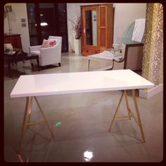 $55 Ikea desk + gold spray paint = amazing! WHITE + GOLD