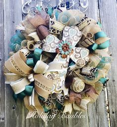 Cross Wreath by Holiday Baubles Spring Wreaths, Easter Wreaths, Summer Wreath, Holiday Wreaths, Christmas Decorations, Holiday Decor, Wreath Ideas, Diy Wreath, Deco Mesh Wreaths