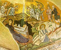 The Nativity, According to Luke Four Gospels, Meridian Magazine, Byzantine Art, Scripture Study, New Testament, Nativity, Vintage World Maps, Faith, Painting