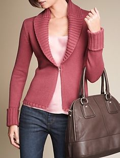 All items from Talbots. Silk pink/rose camisole/tank with a rose/pink shawl collar cardigan. Brown bag, dark blue jeans. Careerwear for the office. Professional dress for women to wear to work. Formal fashion for business professionals (consultants, etc.)