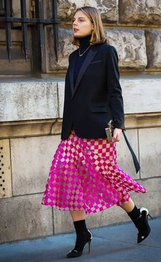 Black accessories go perfectly with bright pink.