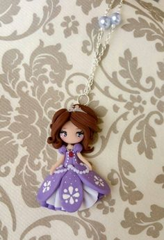 Princess sophia by la petiteDeco Polymer Clay Ornaments, Polymer Clay Christmas, Cute Polymer Clay, Polymer Clay Canes, Polymer Clay Dolls, Polymer Clay Flowers, Polymer Clay Necklace, Polymer Clay Projects, Polymer Clay Creations