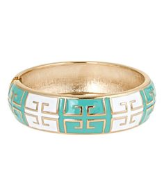Love this Aqua & White Grecian Hinge Bangle by Fornash on #zulily! #zulilyfinds