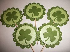 Green Shamrock Saint Patricks Day 3D Cupcake toppers / food picks | Emanon - Seasonal on ArtFire