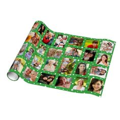 Custom Photo Green Dots Wrapping Paper