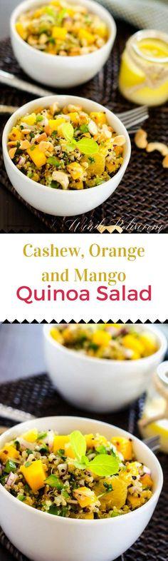 Cashew, Orange & Mango Quinoa Salad via @wendypolisi