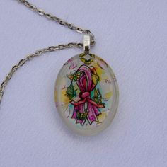 Resin Art Pendant Breast Cancer Awareness by BeadAwesomeBoutique, $9.95
