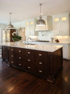 Classic white kitchen with dark wood island. Lionel F Bailey AIA Architect LLCu2026 & 17 best White cabinets u0026 dark island kitchen images on Pinterest ...
