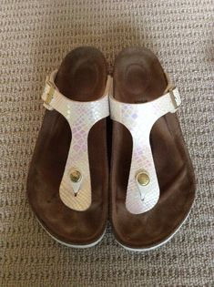 Birkenstock white pearl sandals