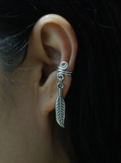 18gauge Ear Cuff with Feather charm