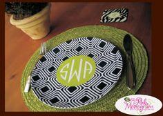 Clairebella Monogrammed Plates   So many fun patterns