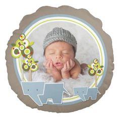 Cute Blue Elephants Forest Baby Boy Photo Custom Pillow by fatfatin