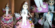 Torre de cupcakes con enfermera de foamy