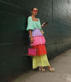 tiered dress in bright colors, tiered ruffle dress in bold colors green yellow red purple and pink, The Atlantic Pacific Blaire, tiered dress, Young Fashion, Look Fashion, Fashion Outfits, Fashion Trends, Runway Fashion, Fashion Hacks, Fashion Bloggers, Indian Fashion, Fashion Tips
