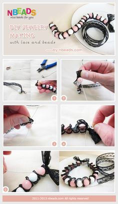 diy jewelry making with lace and beads