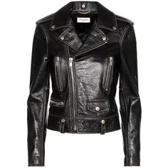 Saint Laurent Leather Jacket ($3,555) ❤ liked on Polyvore featuring outerwear, jackets, saint laurent, black, 100 leather jacket, yves saint laurent, real leather jackets, leather jackets and genuine leather jackets