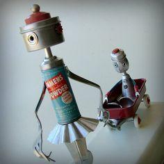 Precious Cargo  Robot fine art assemblage  ooak 99 by leuckit, $150.00