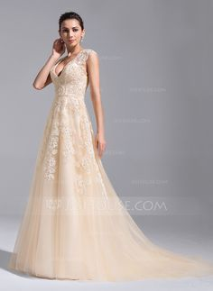 9aa7076705d9 ... Court Train Beading Appliques Lace Sequins Zipper Up Cap Straps Sleeveless  Church General Plus No Spring Summer Fall Champagne Tulle Wedding Dress