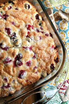 Not too sweet, festively studded with cranberries, this cranberry breakfast cake will be wonderful on Christmas morning. Best of all, you can make the batter the night before and bake the cake in the morning. // alexandracooks.com