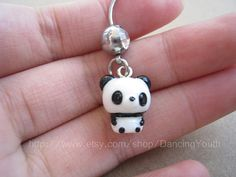 Cute Panda Charm Belly Button Ring, Crystal Belly Ring,