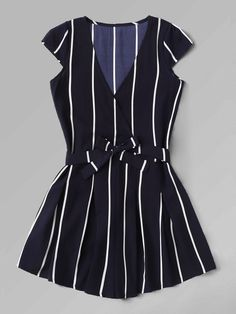Shop Vertical Striped Surplice Romper With Belt online. SHEIN offers Vertical Striped Surplice Romper With Belt & more to fit your fashionable needs. Romwe, How To Wear Belts, Summer Outfits, Cute Outfits, Cute Rompers, Rompers For Teens, Jumpsuit With Sleeves, Vertical Stripes, Romper Outfit