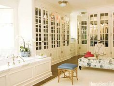 The large, open dressing room adjoins the bathroom in a calming, comfortable California house. Design: James Radin.