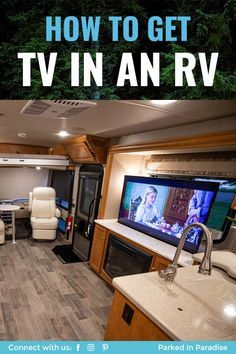 Keep your kids and family entertained when it's raining with a television hookup in your RV or motorhome. DIY advice for getting TV at the campsite. How to install a tv in your travel trailer living r Travel Trailer Living, Travel Trailer Camping, Rv Travel, Travel Trailers, Airstream Trailers, Rv Camping Tips, Camping Gadgets, Camping Ideas, Camper Renovation