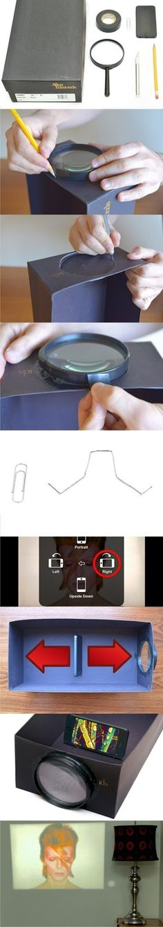DIY Smartphone Photo Projector using a magnifying glass and shoe box!! Love this!