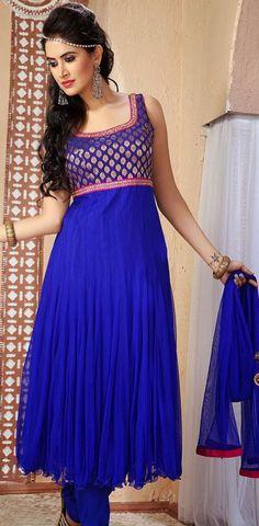 $81.96 Blue Net Long Anarkali Salwar Kameez 25346