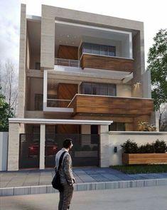 3 Storey House Design, Bungalow House Design, House Front Design, Modern House Design, Building Elevation, House Elevation, Architecture Building Design, Modern Architecture, Temple Design For Home
