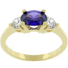 14k Gold Bonded Triplet Engagement Ring Tanzanite CZ. Starting at $10 on Tophatter.com!